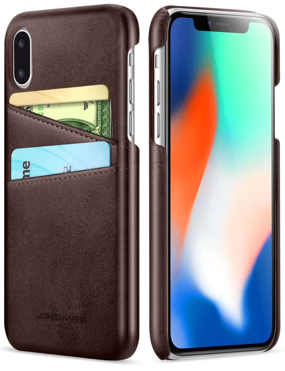3e1843452 Ansiwee Compatible with iPhone Xs Case iPhone X Cover, Wallet Phone Case  Leather Slim Back Wallet Slim Leather Back Case Cover with Credit Card  Holder ...