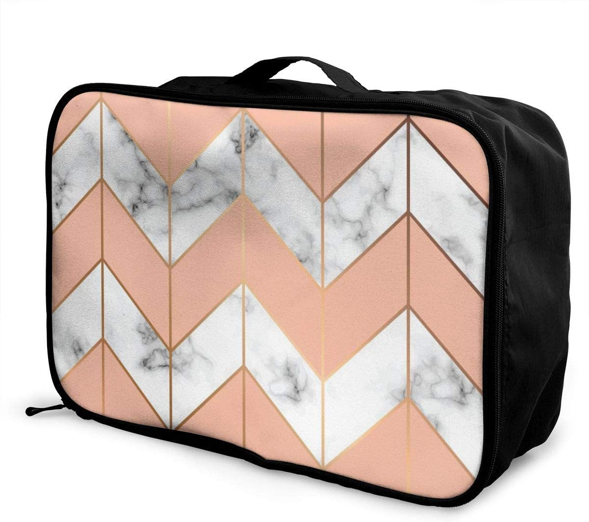 Lightweight LargeTravel Storage Luggage Trolley Bag Travel Duffel Bags Carry-On Tote Marble Texture Golden Geometric Lines