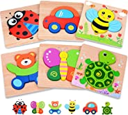 MAGIFIRE Wooden Toddler Puzzles Gifts Toys for 1 2 3 Year Old Boys Girls Baby Infant Kid Learning Educational 6 Animal Shape