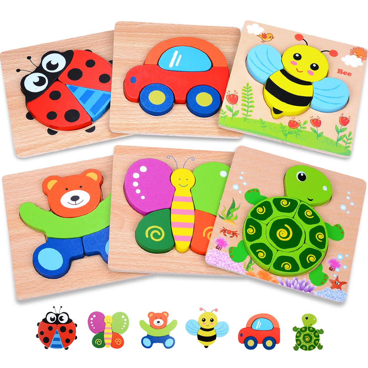 MAGIFIRE Wooden Toddler Puzzles Gifts Toys for 1 2 3 Year Old Boys Girls Baby Infant Kid Learning Educational 6 Animal Shape Jigsaw Eco Friendly Child Kid Montessori Stem Travel Toy