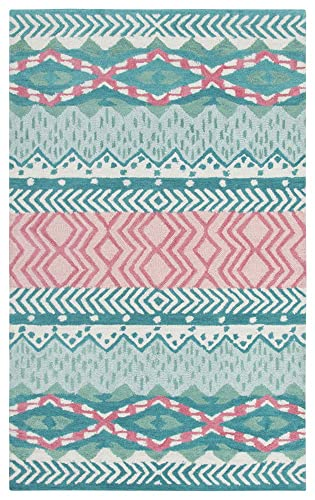 Rizzy Home Play Day Collection Wool Area Rug, 3 x 5 , Teal Pink Green Ivory Geometric