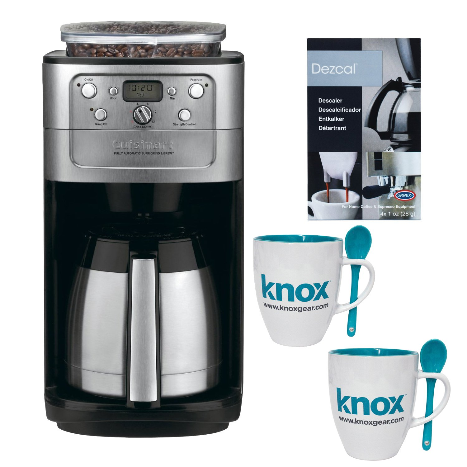 Cuisinart DGB-900BC Burr Grind & Brew Thermal 12-Cup Automatic Coffeemaker w/ 2 Knox Mugs & Spoons Bundle