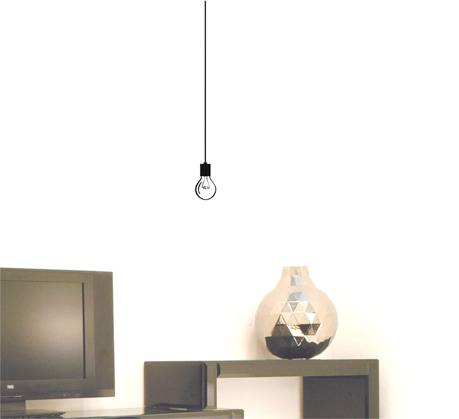 Amazon com hanging light bulb wall decal sticker home kitchen
