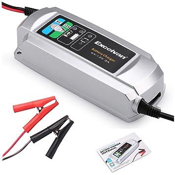 Excelvan C9303 - Cargador de Baterias de Coche, 3A, 6/12V, 3 Pasos Cargador Automático inteligente, para Baterías de Plomo-Ácido