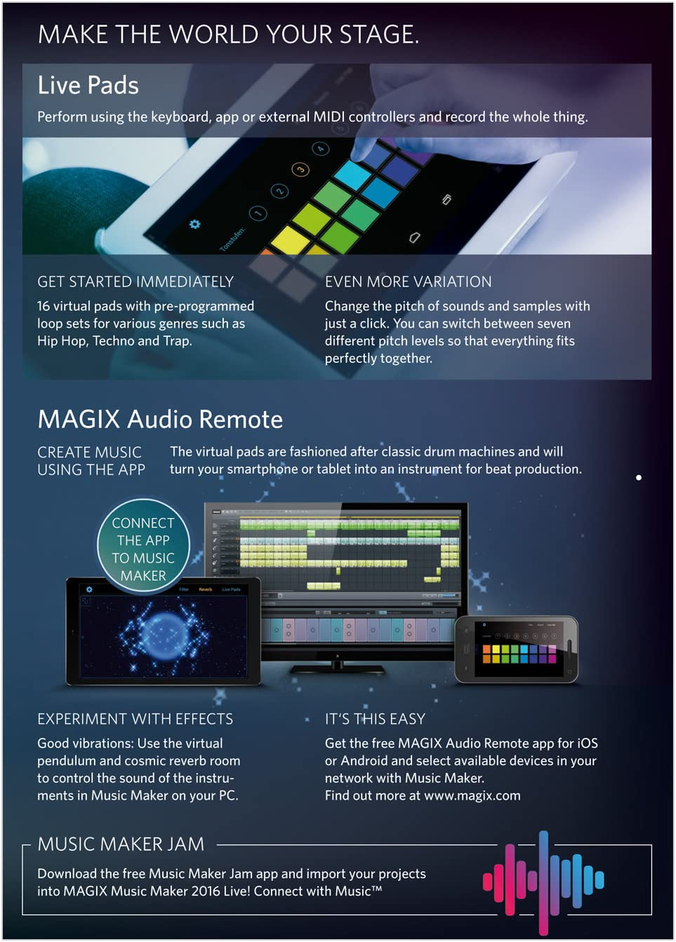 BRAND NEW RETAIL BOX WITH DOWNLOADABLE PROGRAM. MAGIX MUSIC MAKER 2016 LIVE