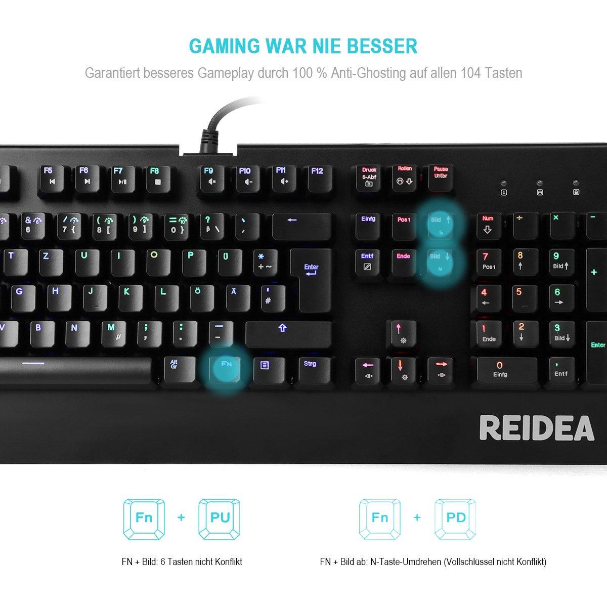 REIDEA KM06 mecánicas Gaming teclado con Red Switch y Full RGB iluminación [es Layout]: Amazon.es: Electrónica