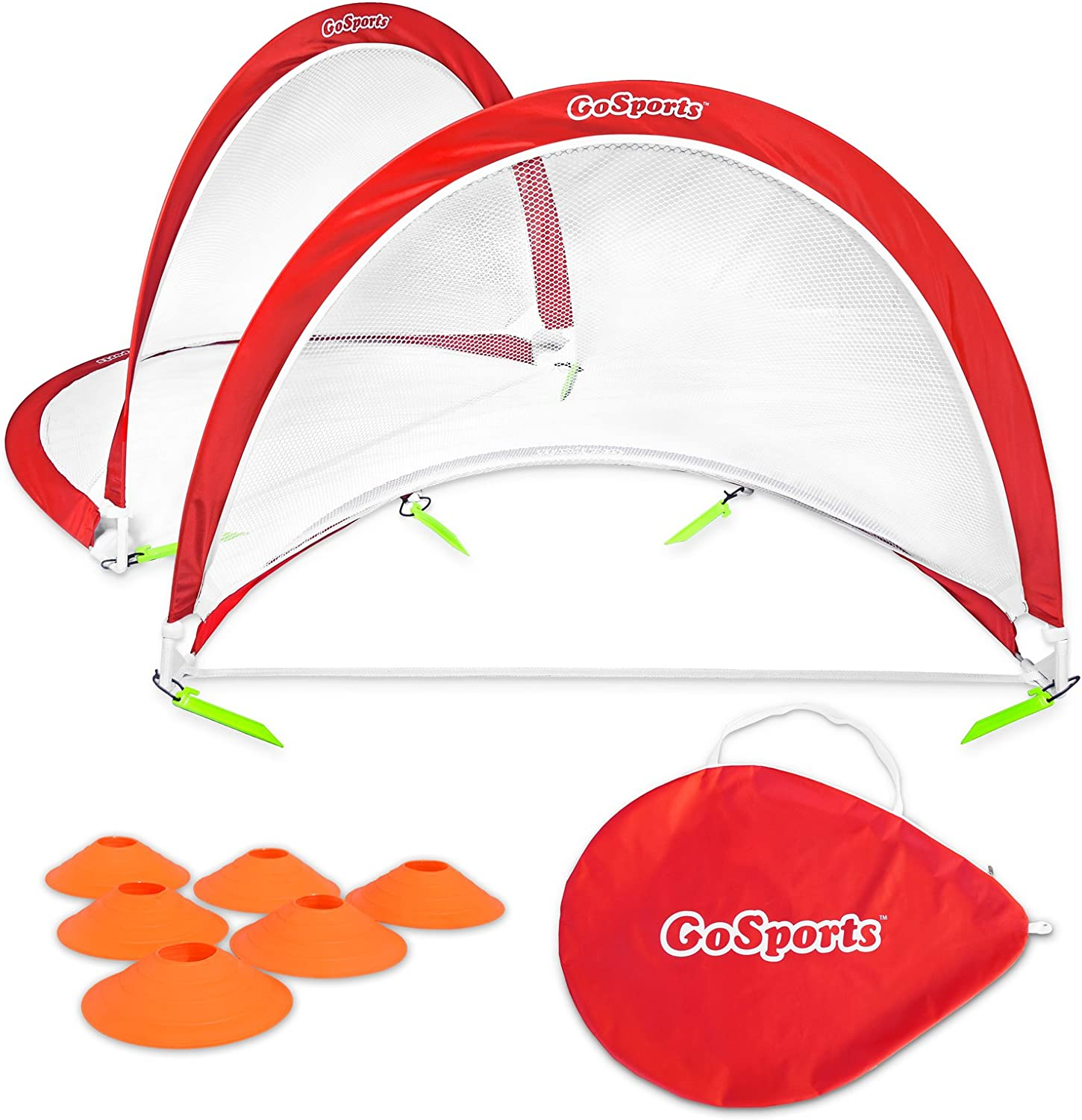 GoSports Foldable Pop Up Soccer Goal Nets, Set of 2, With Agility Training Cones and Portable Carrying Case for Kids & Adults (Choose from 2.5', 4' and 6' sizes)