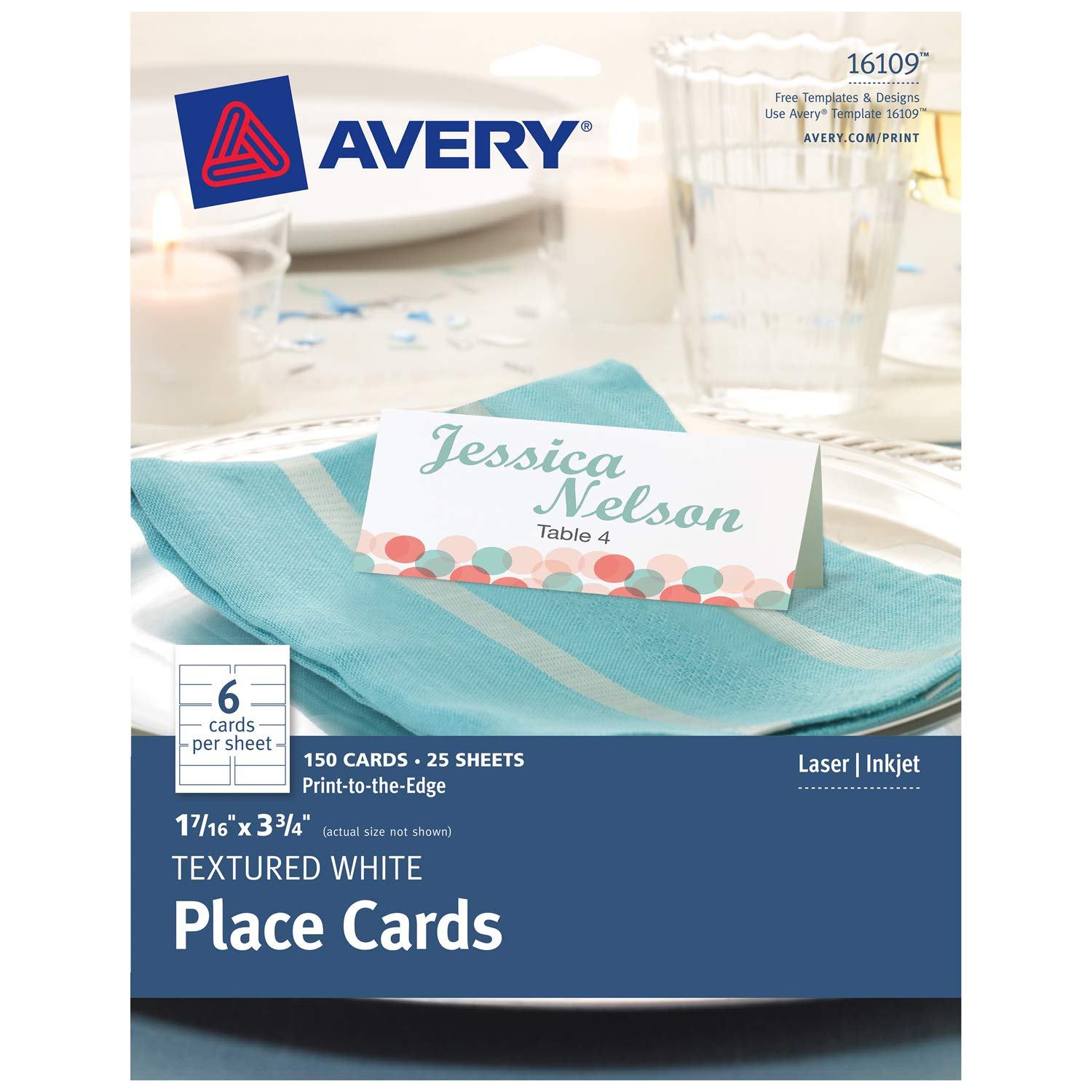 Amazon Com Avery Textured Place Cards White 1 43 X 3 75 Inches
