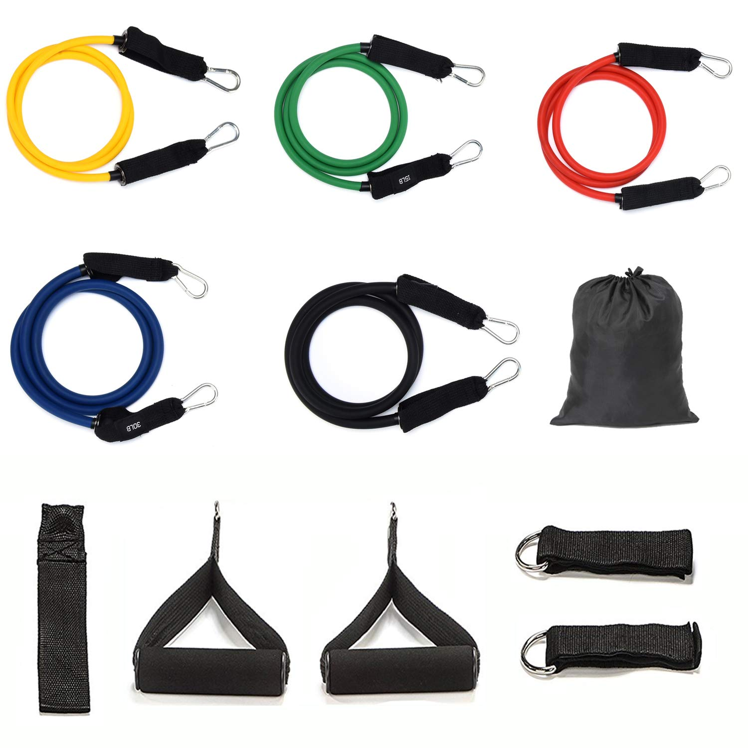 Resistance Band Exercise Sets with Door Anchor/Ankle Straps/Handles/Carry Bag/Instruction Book for Total Body Exercise … GOTODO