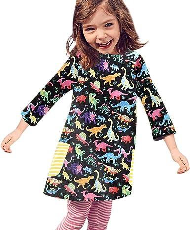 Beikoard_Ropa de Niño y Niña, Niña Manga Larga Animal de Dibujos Animados Vestido Falda Estampada Dinosaurio, Primavera Otoño El Verano: Amazon.es: Ropa y accesorios