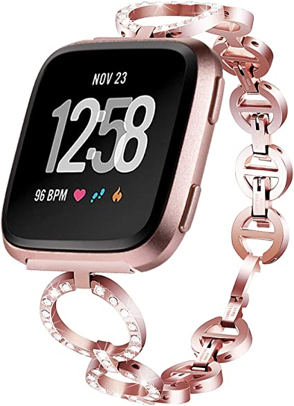 Aiiko Band Compatible with Fitbit Versa/Versa 2/Versa Lite,Fashion Stainless Steel Metal Smart Watch Band Link Bracelet with Crystal Rhinestone ...