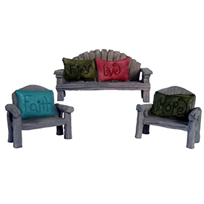 Fairy Garden Seating Chairs and Bench, 3 Piece Set with Fairy Faith, Hope and Love Pillows (3): Garden & Outdoor