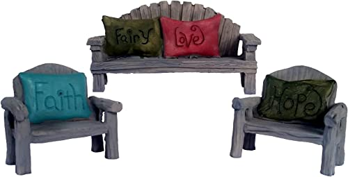 Fairy Garden Seating Chairs and Bench, 3 Piece Set with Fairy Faith, Hope and Love Pillows 3