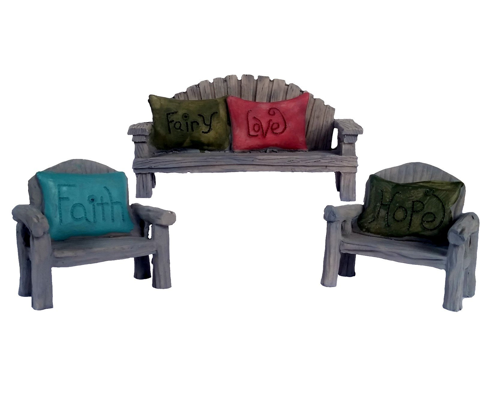 Fairy Garden Seating Chairs and Bench, 3 Piece Set with Fairy Faith, Hope and Love Pillows (3)