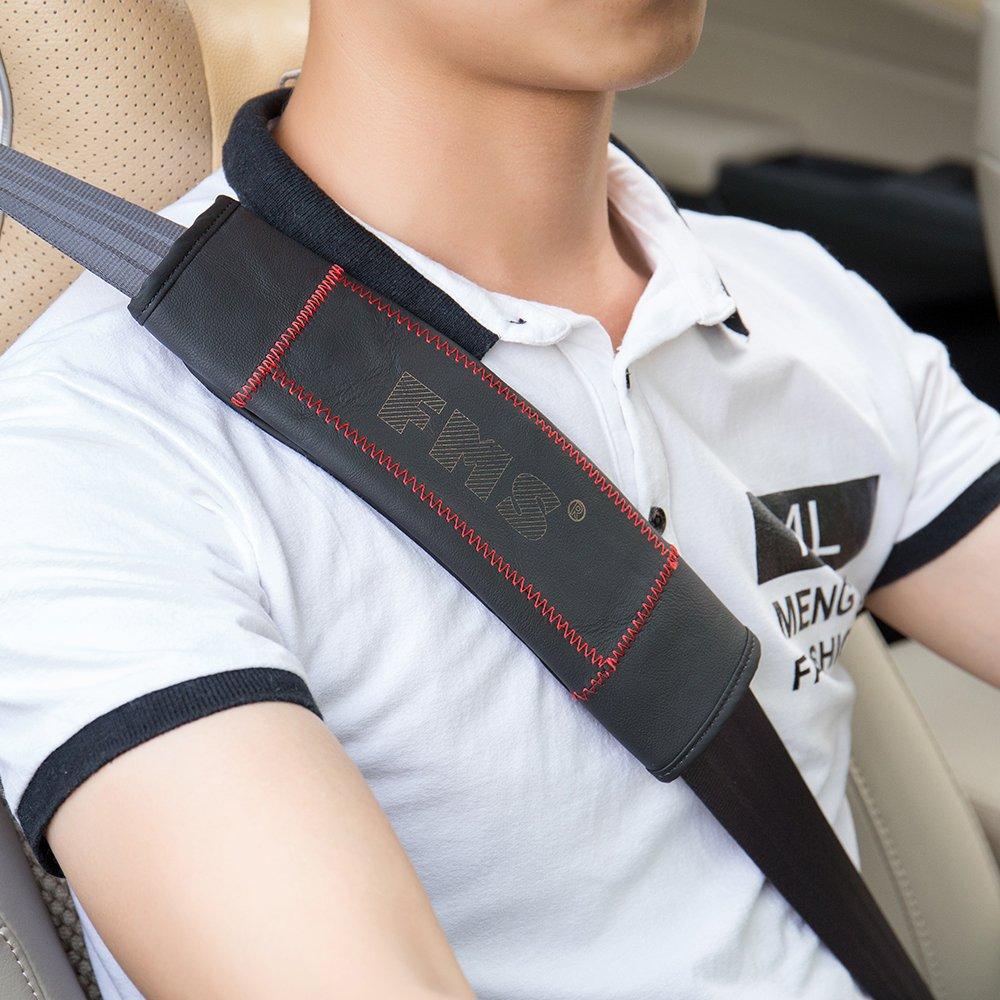 FMS 2pcs Universel voiture ceinture de s/écurit/é Protection Pads ceinture de s/écurit/é Coussinets ( Noir)