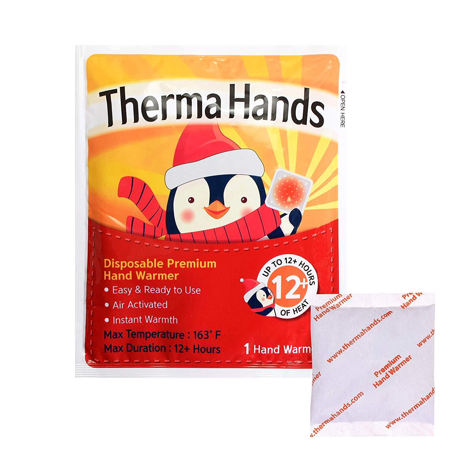 ThermaHands Hand Warmers (5 Packs) - Premium Quality (Size: 3.5 inch x 4 inch, Duration: 12+ Hours, Max Temp: 163 F) Air-Activated, Convenient, Safe, Natural, Odorless, Long Lasting Warmers