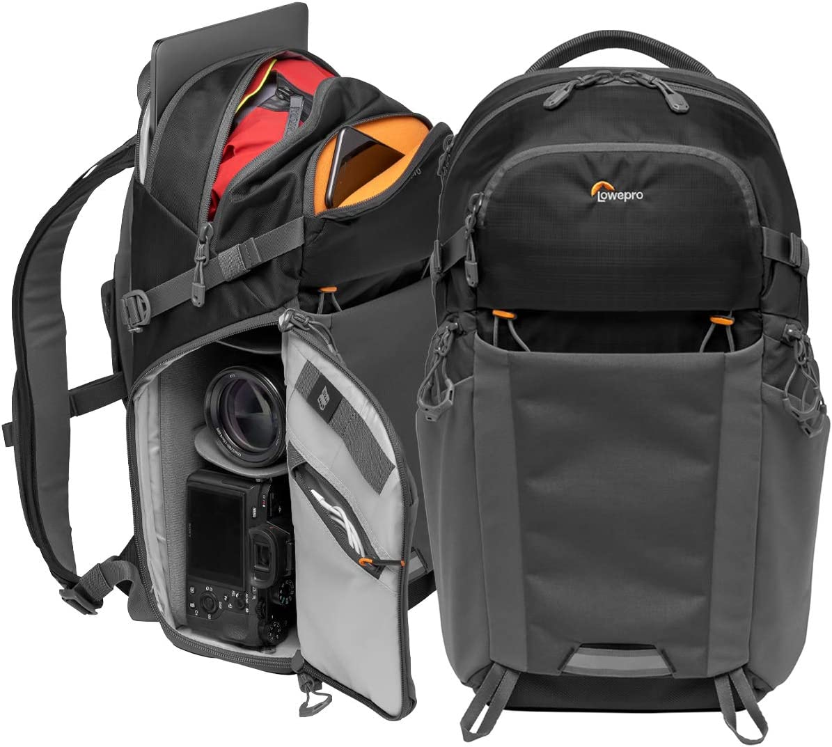 Lowepro LP37260-PWW Photo Active Outdoor Camera Backpack, QuickShelf Dividers, fits 12inch Laptop/2L Hydration, for Mirrorless, Sony, Canon, Nikon, Lenses, Gimbal, Drone, DJI, Osmo, Mavic, Black/Grey