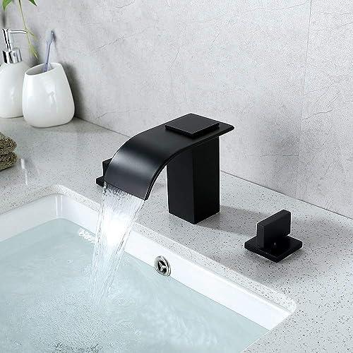 Bathroom Faucet Matte Black 3 Holes 2 Handle Widespread Waterfall Bathroom Vanity Sink Faucet