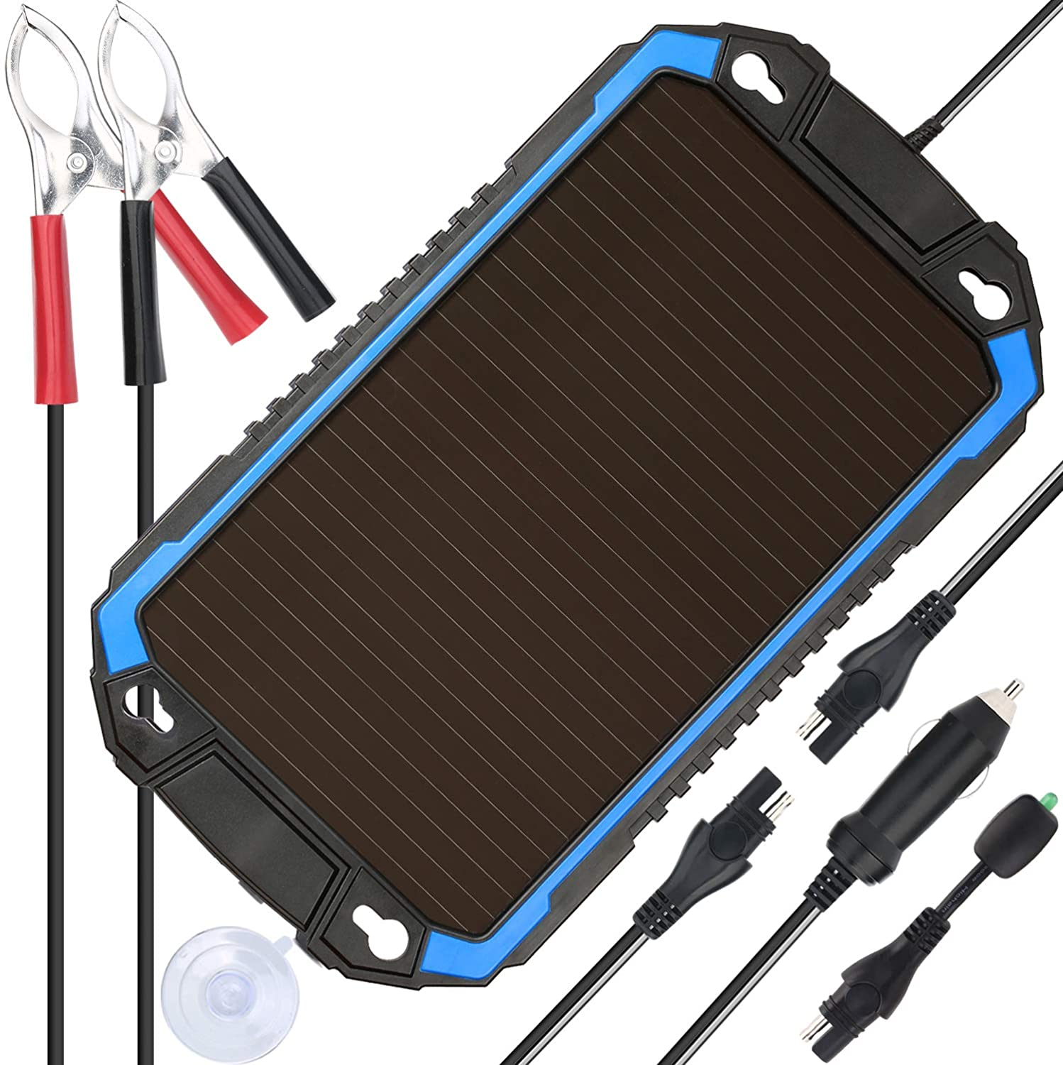 SUNER POWER 12V Solar Car Battery Charger & Maintainer - Portable 2.4W Solar Panel Trickle Charging Kit for Automotive, Motorcycle, Boat, Marine, RV, ...