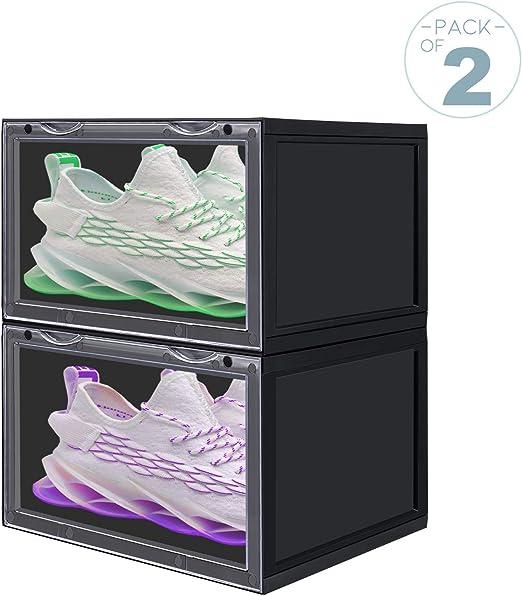 LOMOFI Caja Zapatos 2 Piezas Cajas Zapatos Apilables Transparente ...