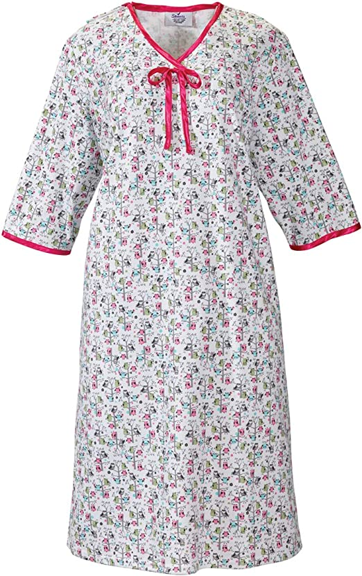 Silverts Disabled Elderly Needs Womens Open Back Knit Nightgown with Diamond Neck and Soft
