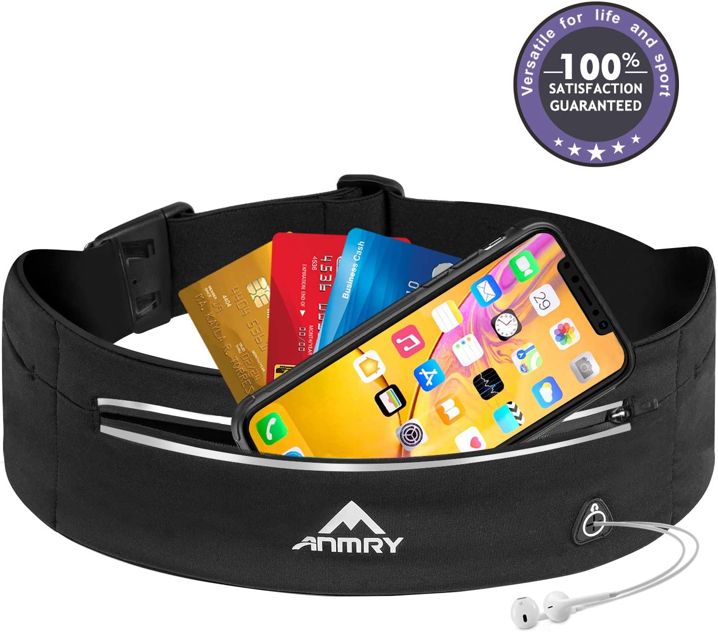 ANMRY Running Pouch Belt,Runner Waist Pack for Woman and Men – Running Belt for Any iPhone Phone Size – Runners Hiking Climbing Fanny Pack – Adjustable Running Pouch 3 Pockets Black