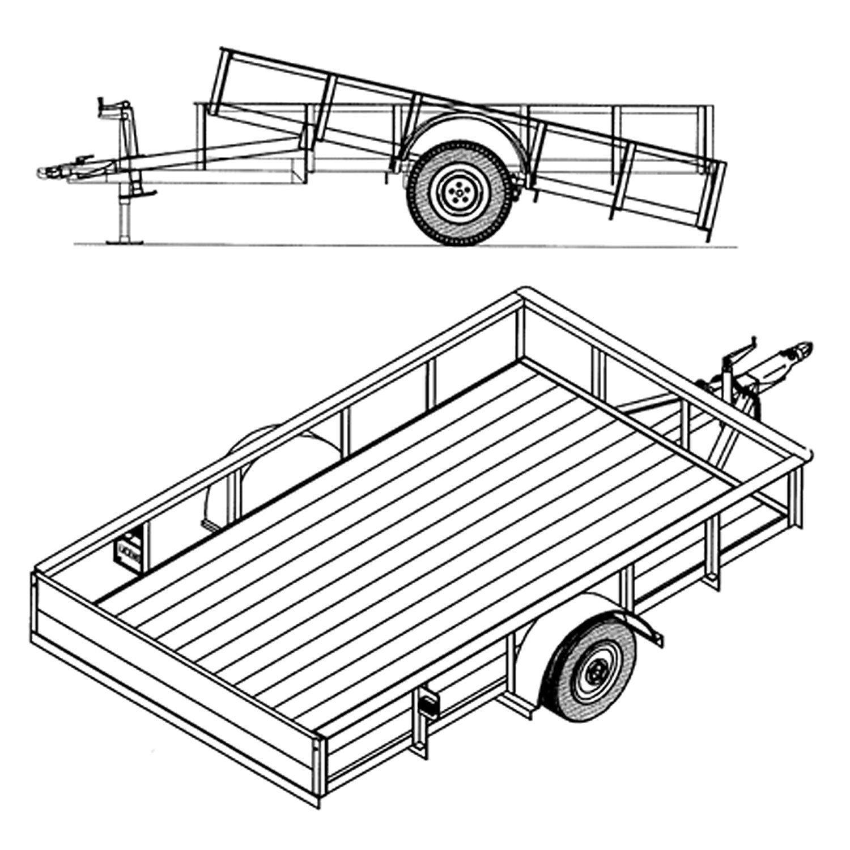 6' 4'' x 10' Utility Tilt Trailer Plans Blueprints, Model 1110T by Master Plans