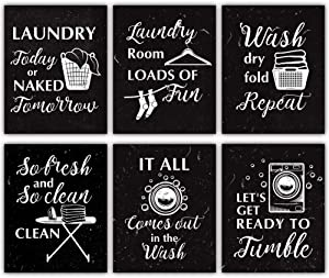 "Funny Laundry Rules Sign Canvas Painting, Creative Laundry Saying Art Prints Set Of 4(8""X10"", Unframed), Modern Minimalist Chalkboard Words Wall Art Poster For Laundromat Wash Room Decor"