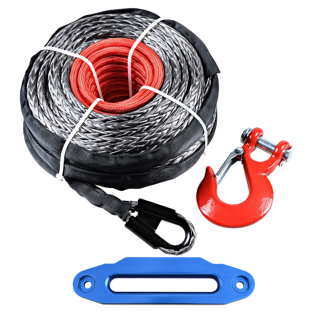 10 Aluminum Hawse Fairlead Astra Depot 95ft x 3//8 Synthetic Winch Rope 20500lbs w//Protective Sleeve RED Hook