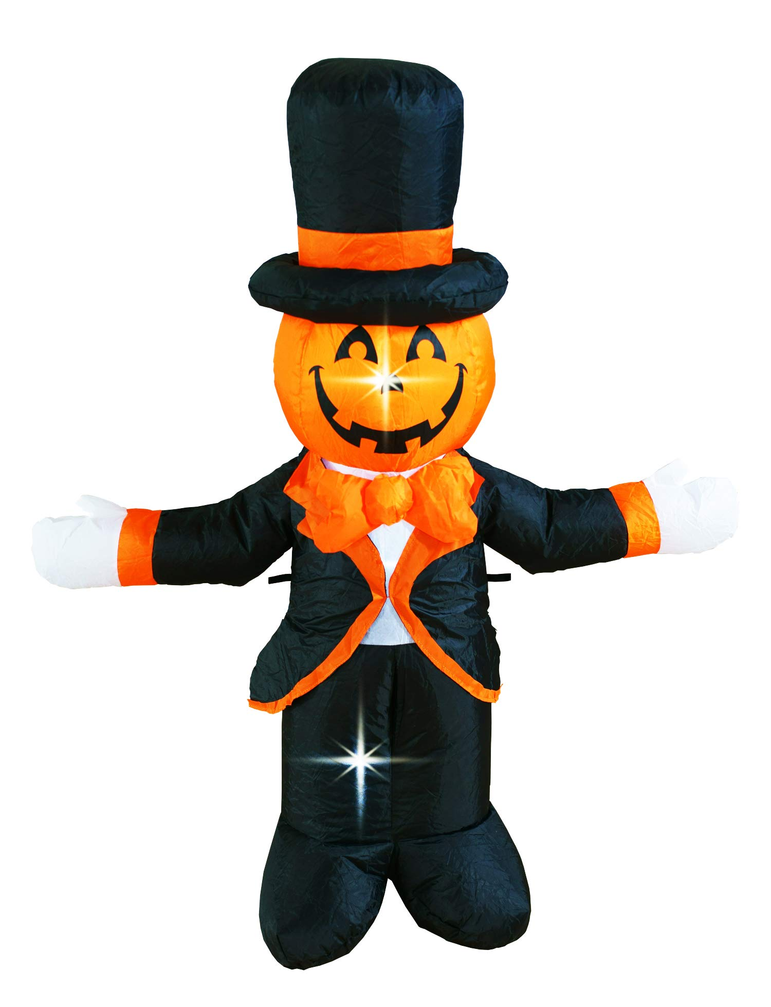 BIGJOYS 4 Ft Halloween Decorations Inflatable Pumpkin Gentlemen Decoration Portable Lighted Lanterns for Home Yard Garden Lawn Indoor and Outdoor Party