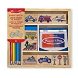 Melissa & Doug Wooden Stamp Set: Vehicles - 10 Stamps, 5 Coloured Pencils, 2-Colour Stamp Pad