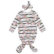 Newborn Baby Girls Sleepy Floral Striped Gown Headband Sleepwear Romper Sleeping Bags (0-3M, White)