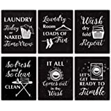 "HLNIUC Funny Laundry Rules Sign Canvas Painting,Creative Laundry Saying Art Prints Set of 6(8""X10"",Unframed),Modern Minimalis"