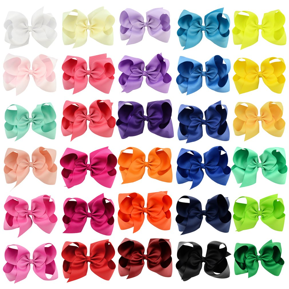Ondder 30Pcs 6 inch Bows For Girls Grosgrain Ribbon Boutique Large Hair Bow Alligator Clips For Teens Kids Toddlers Children