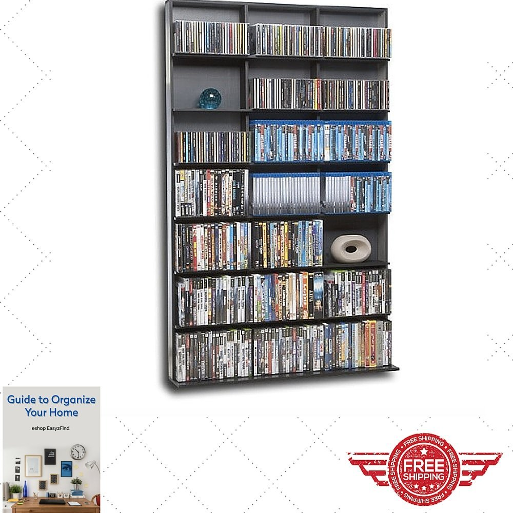 Bookcase Storage Cabinet Black Grey Large Store CD , DVD Collection , Furniture , Modern Rack , Bookcase W/ Shalves & eBook by Easy2Find