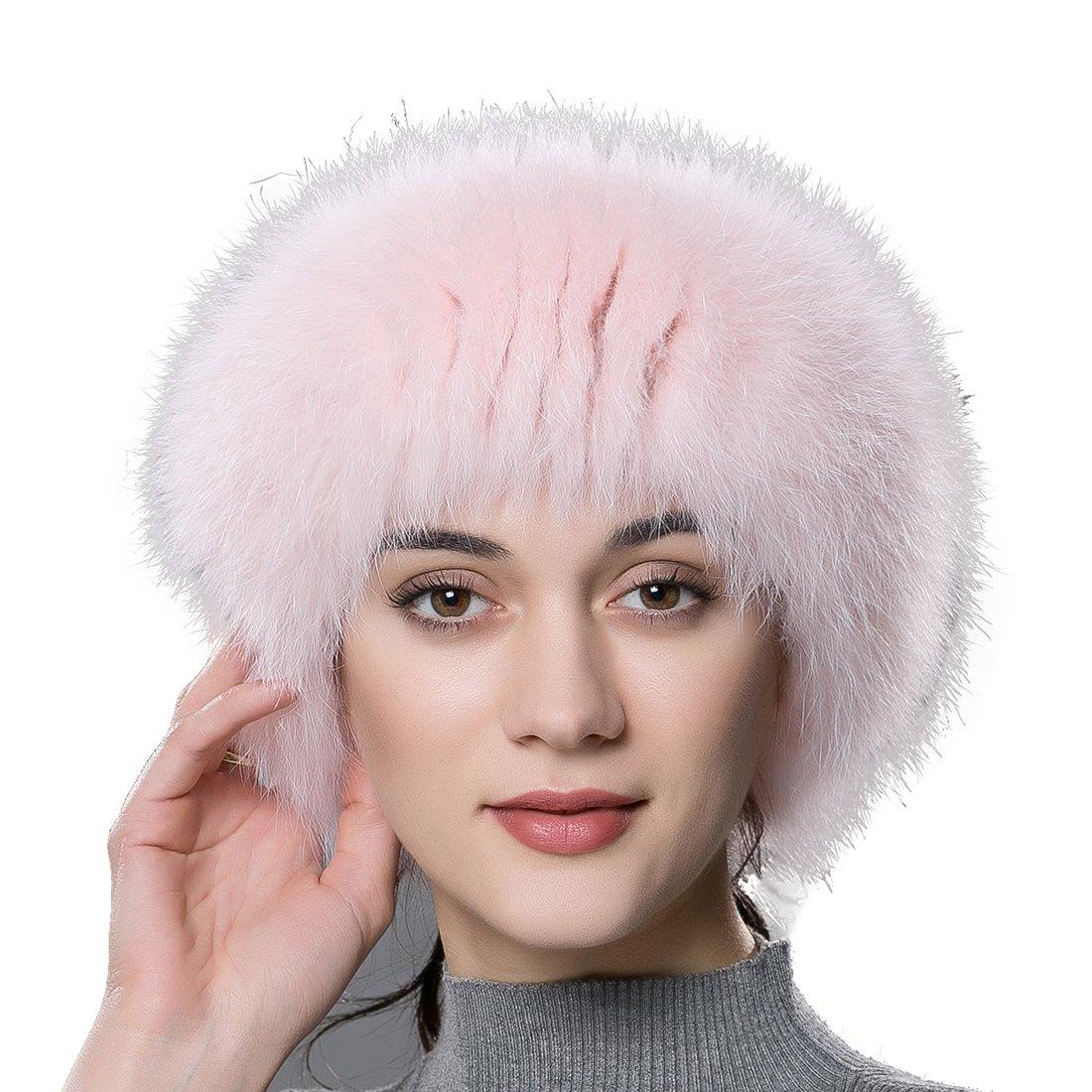 URSFUR Winter Fur Headband Women Warm Real Fox Fur Knitted Headband Earmuffs Pink