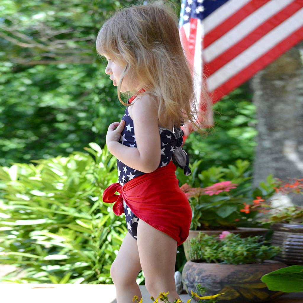 Lomsarsh Toddler Baby 4th of July Star Wrap Swimsuit Bikini Swimwear Bathing Suit Childrens Sleeveless Independence Day Star Print Halter Set