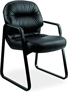 product image for HON 2093SR11T Leather 2090 Pillow-Soft Series Guest Arm Chair, Black