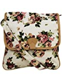 Crafts My Dream Women's Sling Bag Beige Rose Print Cmd146