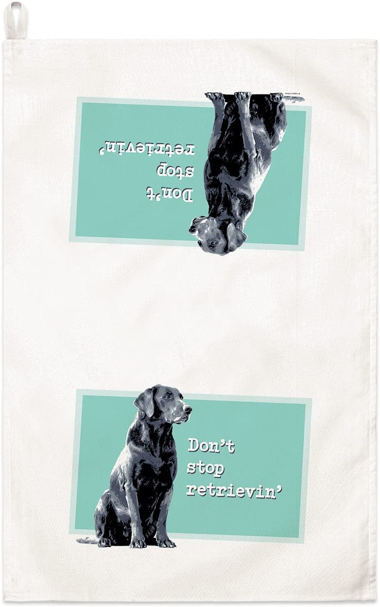 Fiddler/'s Elbow Don/'t Stop Retrievin/' Black Lab Kitchen Towel-100/% Cotton