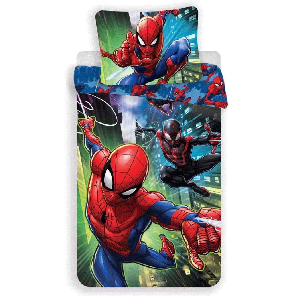 Jerry Fabrics Spiderman Character Children's Bedding with Zipper and 70 x 90 cm Pillow Case, Cotton, Multi-Colour, 200 x 140 x 0.5 cm