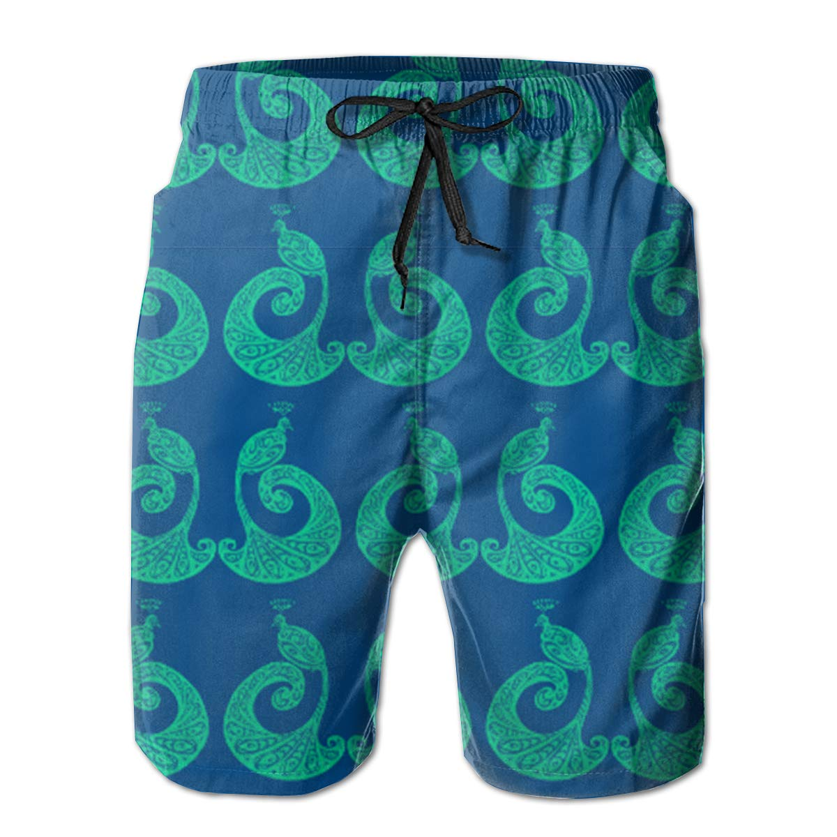 Peacocks Blue Green Quick Dry Beach Board Shorts with Mesh Lining FASUWAVE Mens Swim Trunks Be Proud