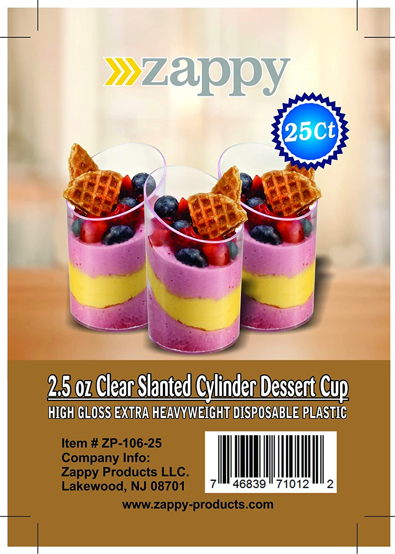 fab7b693cb73 Zappy 250 Elegant Clear Slanted Cylinder Mini Dessert Appetizer Cup 2.5 oz  Plastic Tasting / Sample...