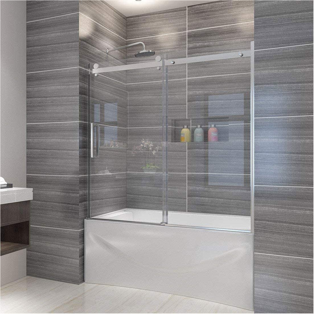 ELEGANT 60 W x 62 H Frameless Bath Tub Door, 5 16 Clear Sliding Shower Glass Panel Bathtub Shower Door, One Direction Sliding One Fixed Glass, Chrome Finish