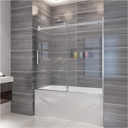 Elegant 60 W X 62 H Frameless Tub Door 5 16 Clear Glass
