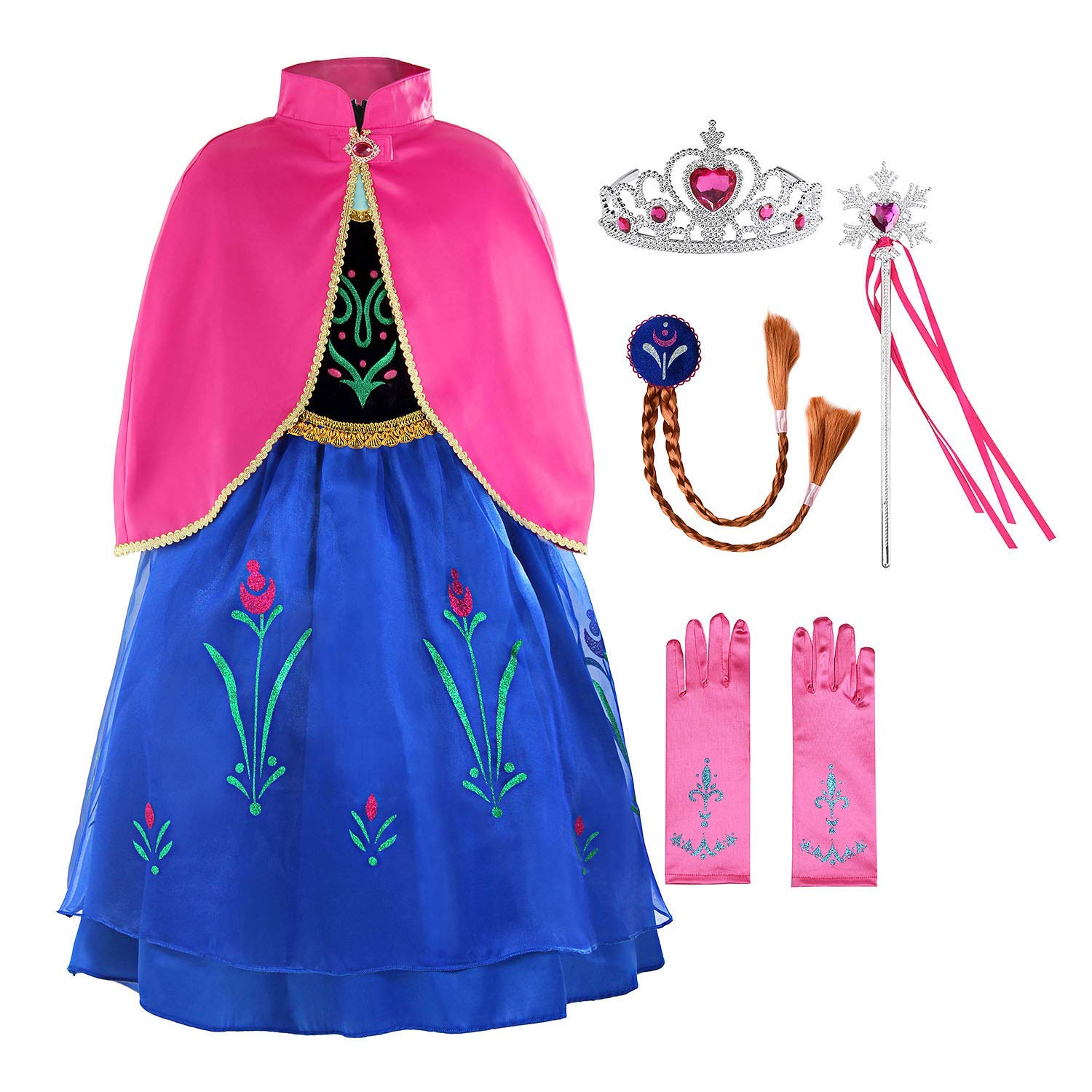Padete Little Girls Anna Princess Dress Elsa Snow Party Queen Halloween Costume (7 Years, Navy Blue with Accessories)