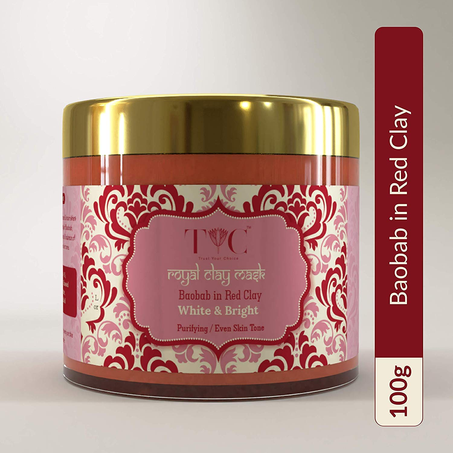 Buy Tyc Brightening Red Clay Mud Face Mask For Fairness Glowing Skin Lighten Scars White Bright Repair Pigmentation Tanning Free Even Tone Skin 100 Gm Online At