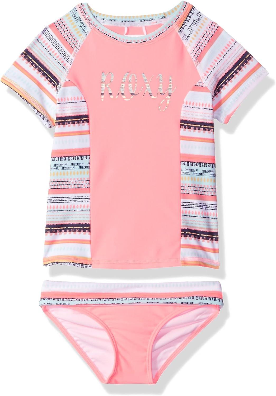 Roxy Girls Lets Be Short Sleeve Rashguard Swimsuit Set