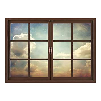 Amazoncom Scocici Removable 3d Windows Frame Wall Mural Stickers