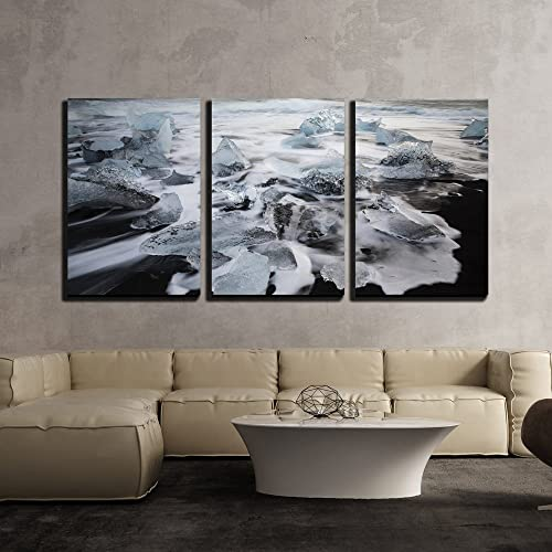wall26 – 3 Piece Canvas Wall Art – Iceberg Floating on The Sea – Modern Home Decor Stretched and Framed Ready to Hang – 16 x24 x3 Panels